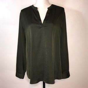 Chico's Olive Green Pull Over Blouse Womens Size 2